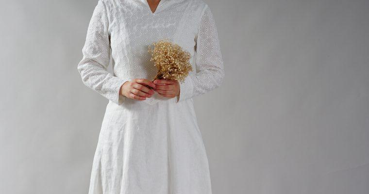 リネンで作る、ウェディングドレス。