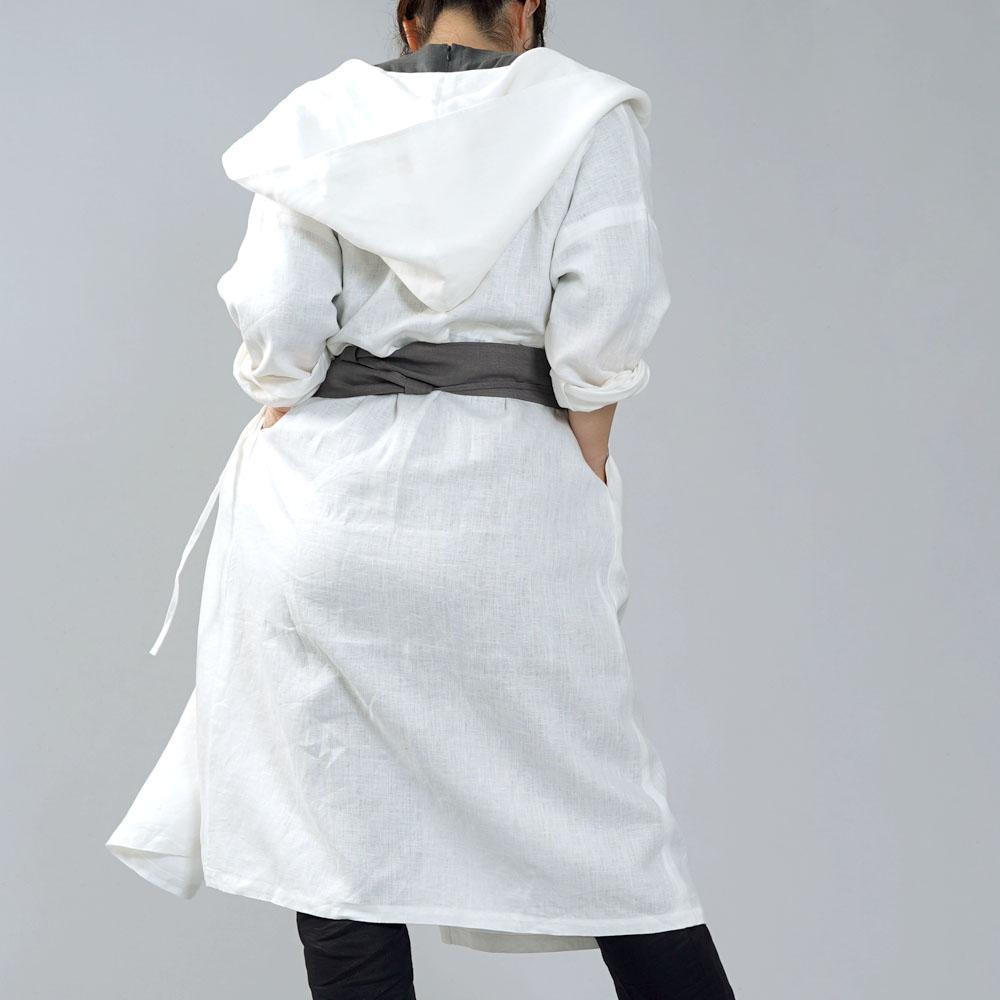 【wafu】中厚 リネン カシュクール フードコート ロング丈 長袖ワンピース/ホワイト a005c-wht2
