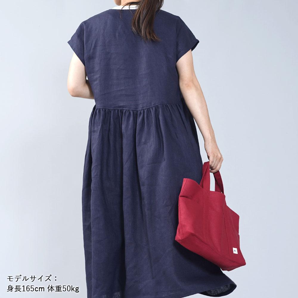 【wafu】中厚リネン ギャザーワンピース 重ね着で使いやすいワンピース/ネイビー【M-L】a018b-neb2