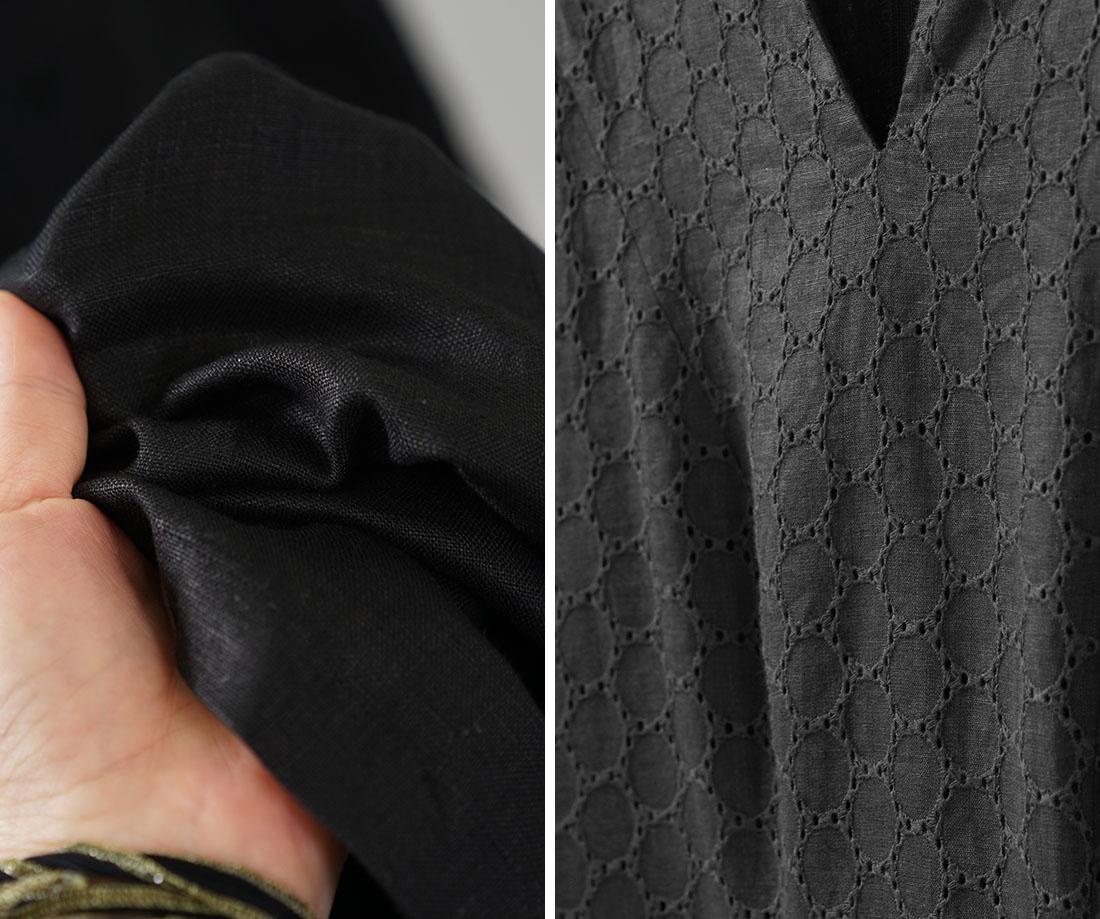 リネン100% ブラック・スワン ドレス リネンドレス ローブ・モンタント 衣装 舞台 エンブロイダリーレース パニエ付き 長袖 / ブラック ウェディングドレス 結婚式 二次会 2次会 ウエディング ドレス 舞台衣装 衣装 発表会 オーダー リネンドレス 黒 ブラック レース パニエ 2点セット インナー付き キレイ 美しい レース 円レース トレンド 旬 着こなし 春 夏 秋 冬 レディース wafu 新作