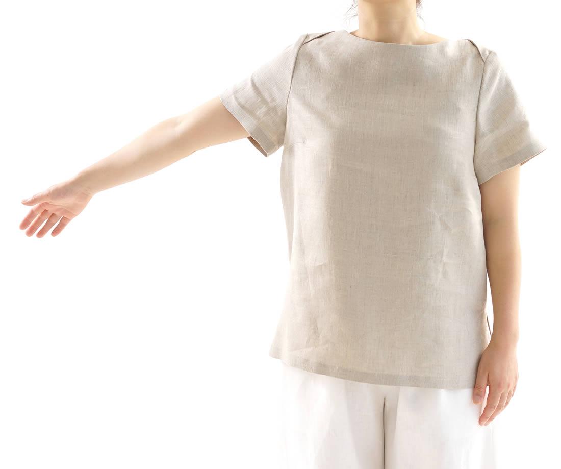 中厚 リネンブラウス ボートネック Tシャツ チュニック 半袖 / 亜麻ナチュラル