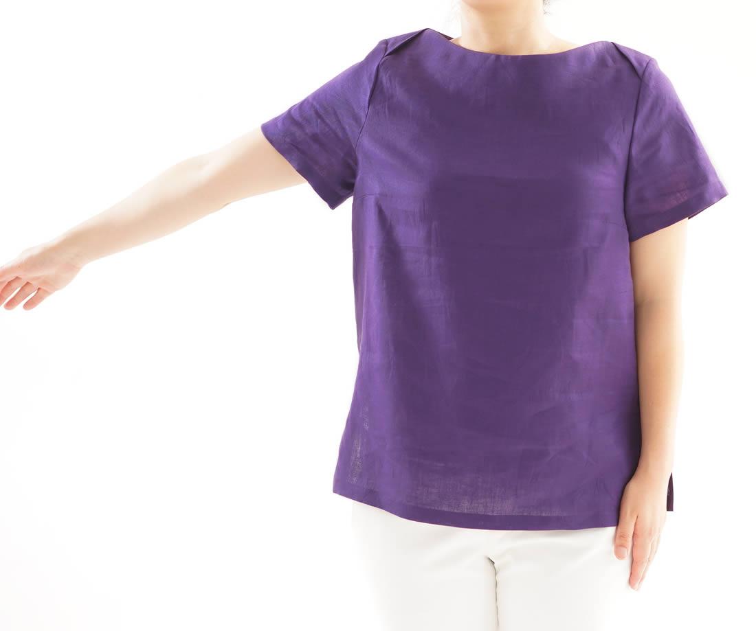 薄地 リネンブラウス ボートネック Tシャツ チュニック 半袖 / オーベルジーヌ