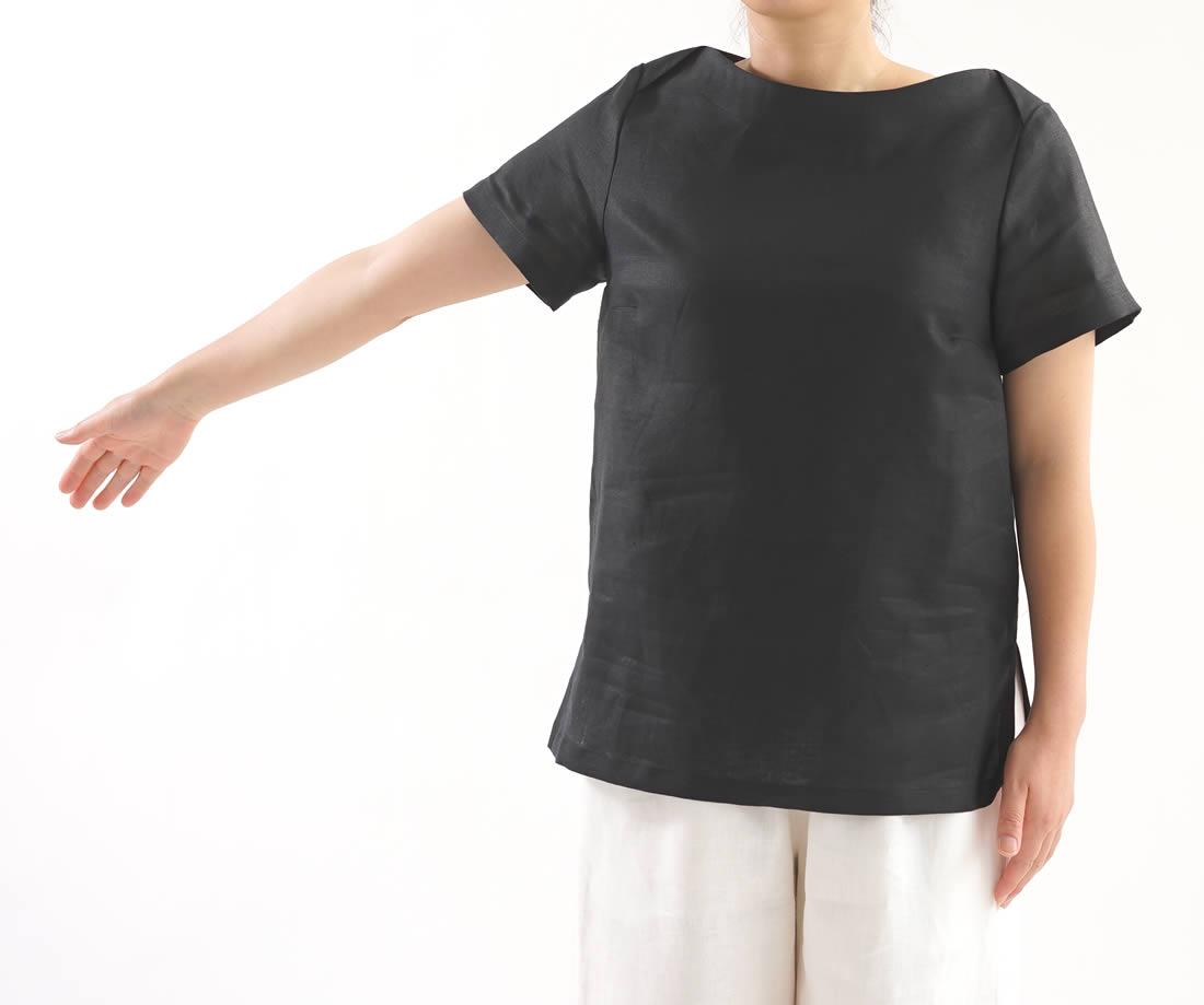 薄地 リネン ブラウス ボートネック Tシャツ チュニック 半袖 トップス / ブラック