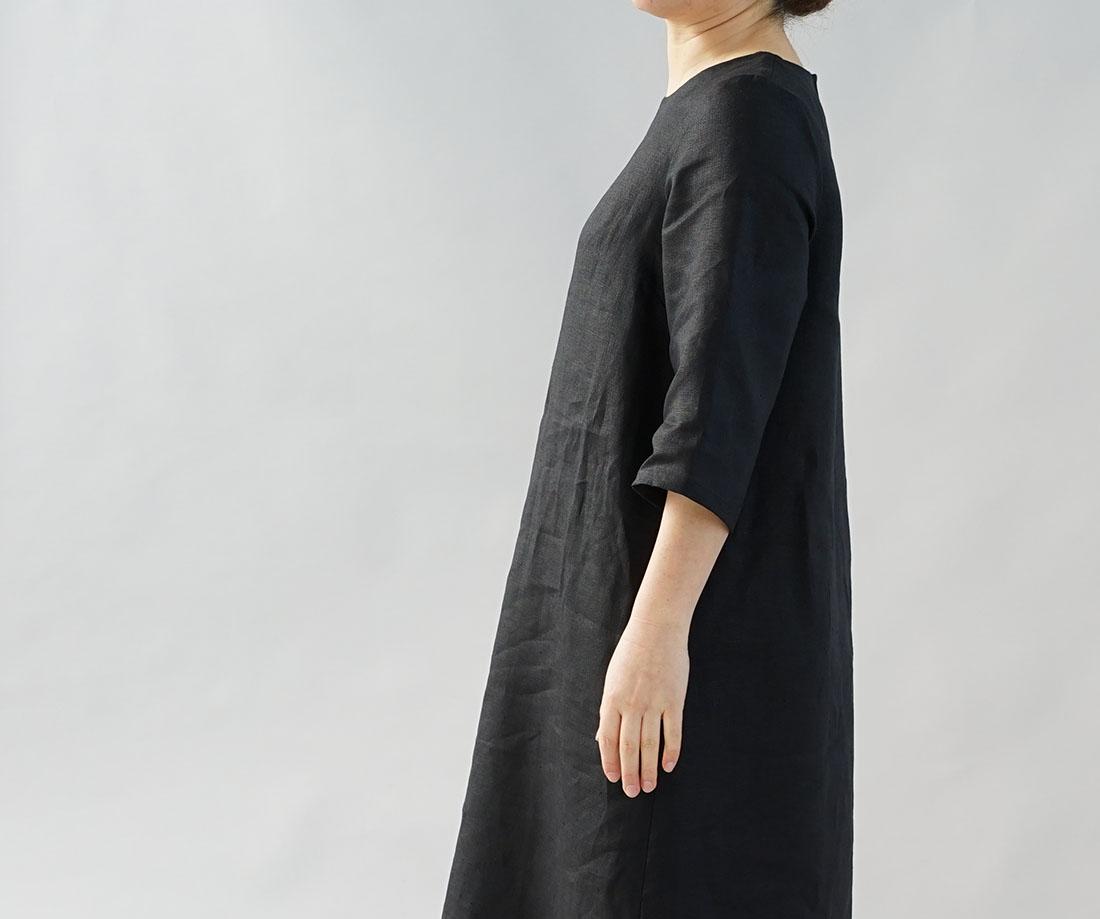 中厚 リネン ワンピース ロング丈 ラウンドネック Aライン 7分袖 ドレス / ブラック【M-L】a032d-bck2