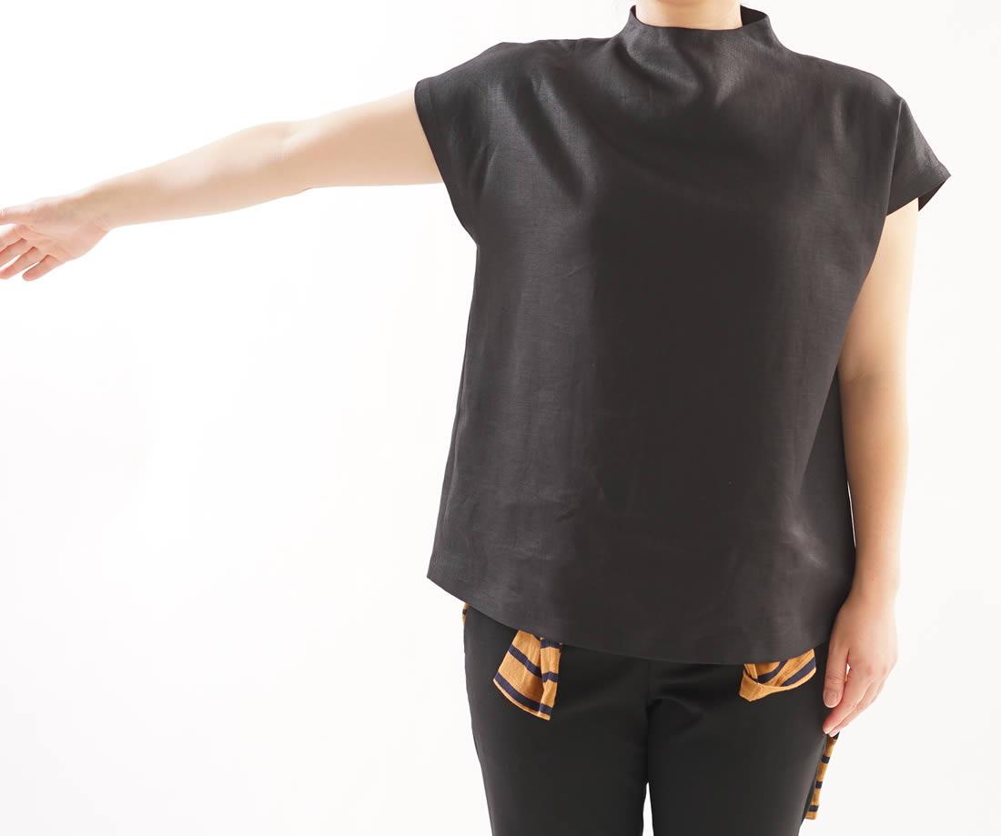中厚 リネン ブラウス レイズド・ネックライン フレンチスリーブ トップス Tシャツ / ブラック