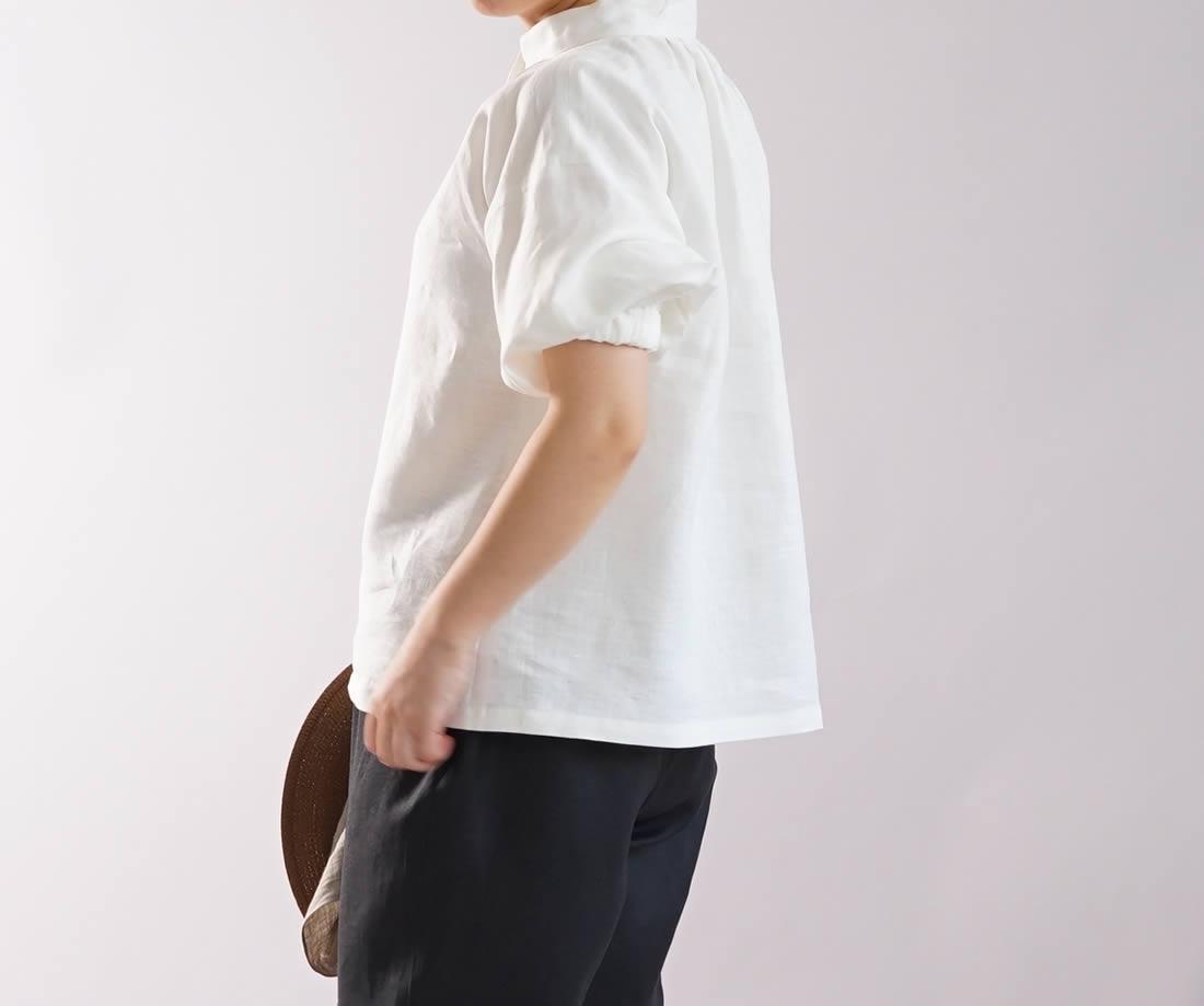 中厚 リネン ブラウス ふんわりスタンドカラー ドロップショルダー シャツチュニック / ホワイト