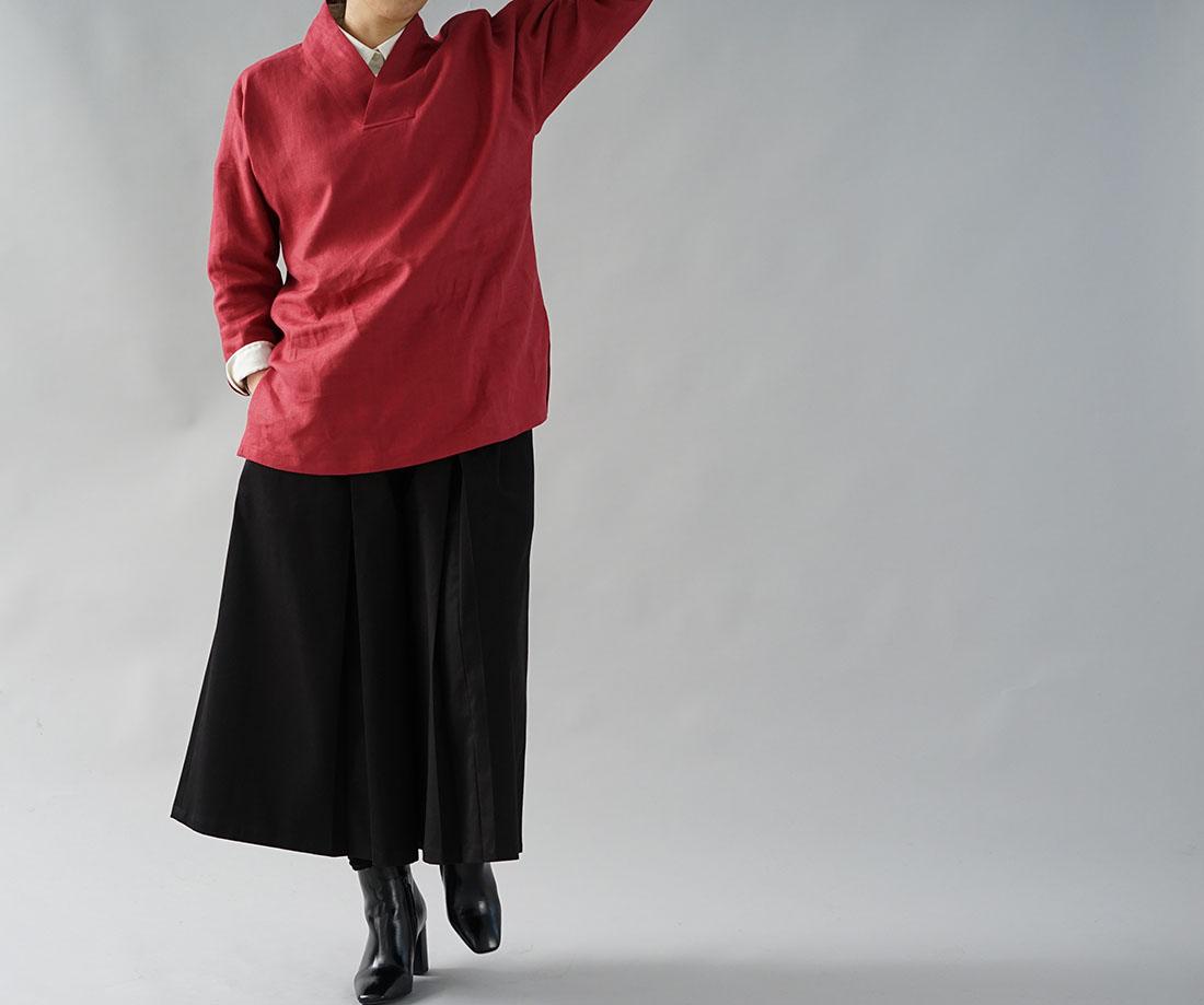 wafu わたぬき服装店 中厚 リネントップス 禅 着物襟 ドルマンスリーブ リネン100% 九分袖 リネン ブラウス チュニック  / ルビーレッド トップス カットソー Tシャツ リネン 麻 リネントップス 麻トップス 長そで 長袖 ながそで 長袖カットソー 長そでトップス 長袖トップス ロング袖 Vネック Vスリットネック  スリット入 変形 禅 禅シリーズ 着物衿 変形襟 無地 無地トップス 無地カットソー 赤 ルビー レッド ルージュ 朱 朱色 トレンド 旬 着こなし 春 夏 秋 冬 レディース wafu 新作