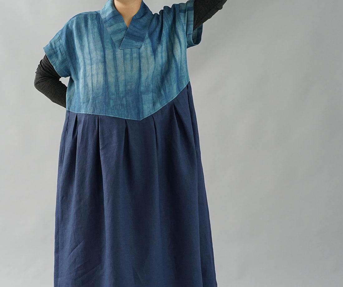 wafu わたぬき服装店 伝統製法 正藍染 リネン ワンピース 着物襟 ドルマンスリーブ ワンピース 禅 和装 リネン100% ドレス / 藍色×ネイビー ワンピース リネンワンピース リネン 麻 麻ワンピース 麻ワンピ リネンワンピ 半袖 半袖ワンピース 半袖ワンピ 半そでワンピース 半そでワンピ はんそで 半そで 半端袖 ミモレ丈 ミモレワンピース 膝下丈 ひざ下丈 カッタウェイ 襟 シャツワンピース シャツワンピ スキッパー シャツワンピース シャツワンピ フレア フレアワンピース  ネイビー ブルー 濃紺 紺 生地柄 無地 着物衿  トレンド 旬 着こなし 春 夏 秋 冬 レディース wafu 新作