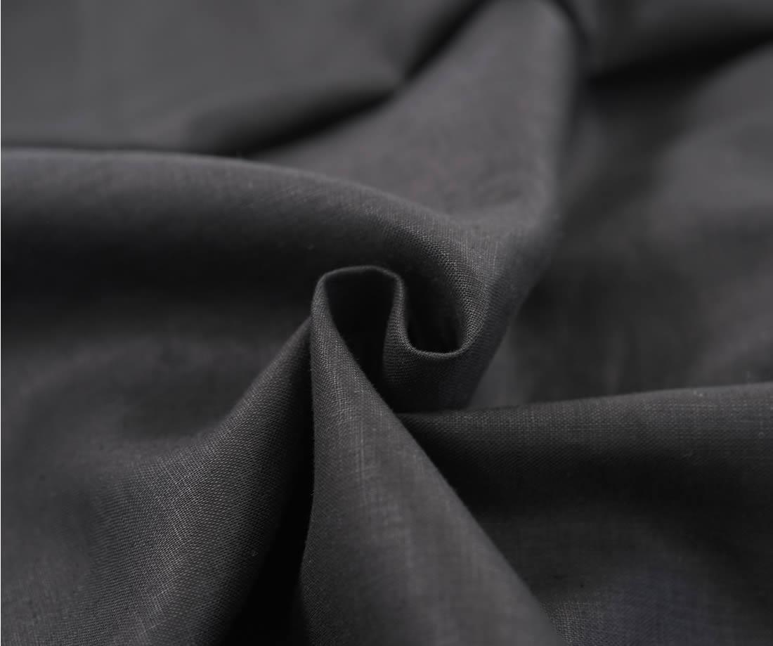 リネンワンピース フレンチスリーブ タックドレス/ブラック