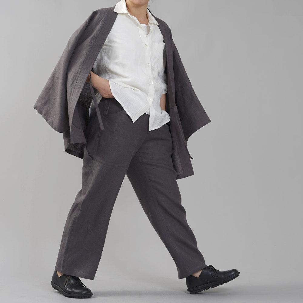 少し丈短め 中厚リネン ペインターパンツ リネンパンツ linen100% ウエストゴム メンズライク DIYにも/黒橡(くろつるばみ)【free】b004b-ktb2