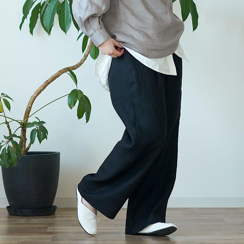 【wafu】中厚 リネン パンツ スリータック 後ろゴム ベルトループ ポケット付き ストレート リネンパンツ/ブラック【M-L】b010e-bck2