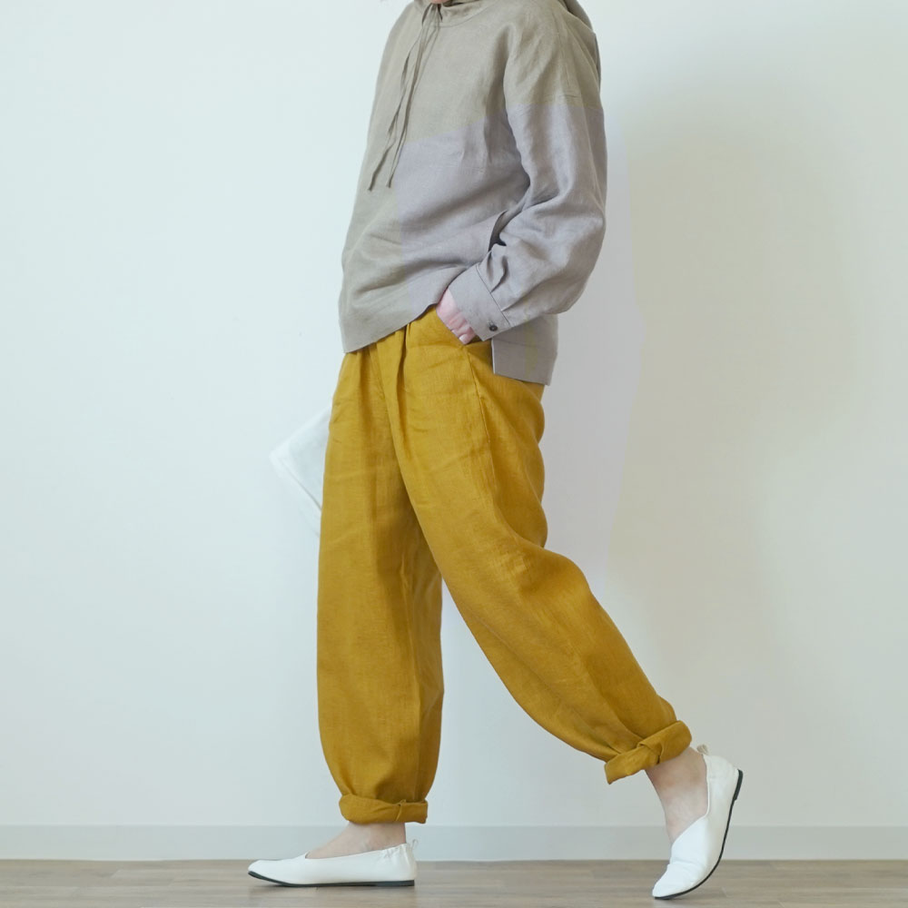 【wafu】中厚 リネン パンツ スリータック 後ろゴム ベルトループ ポケット付き ストレート リネンパンツ/マスタード【M-L】b010e-mtd2