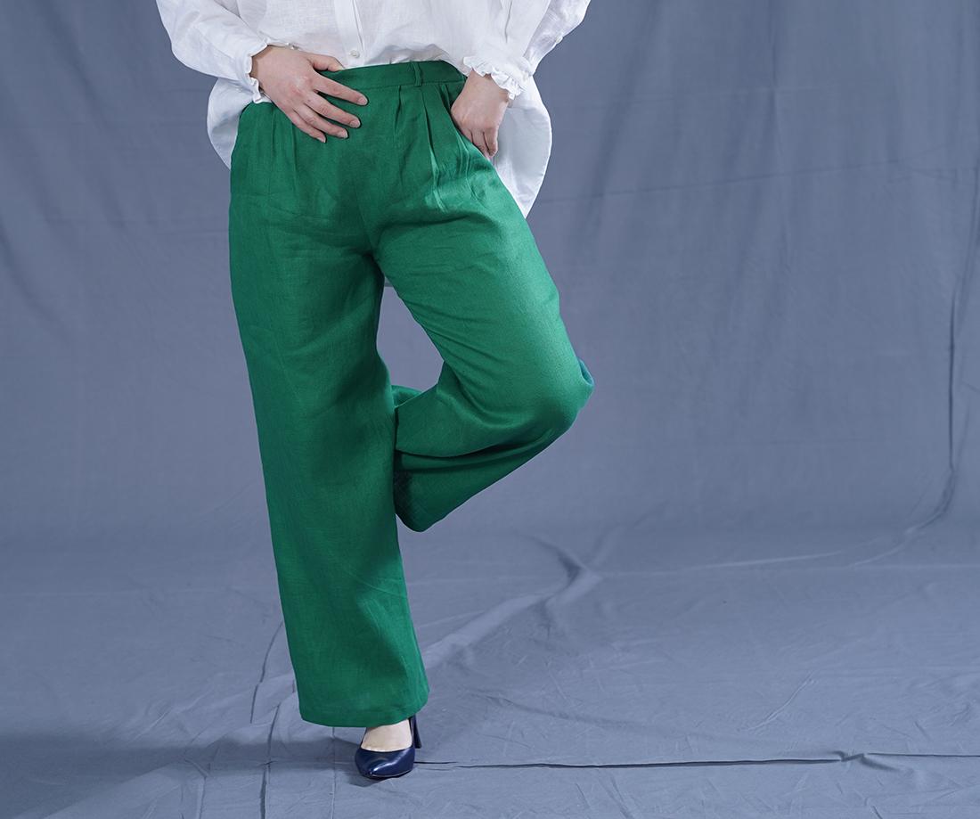 中厚 リネン パンツ スリータック 後ろゴム ベルトループ ポケット付き ストレート リネンパンツ/ヴェールシプレ【M-L】b010e-vsp2