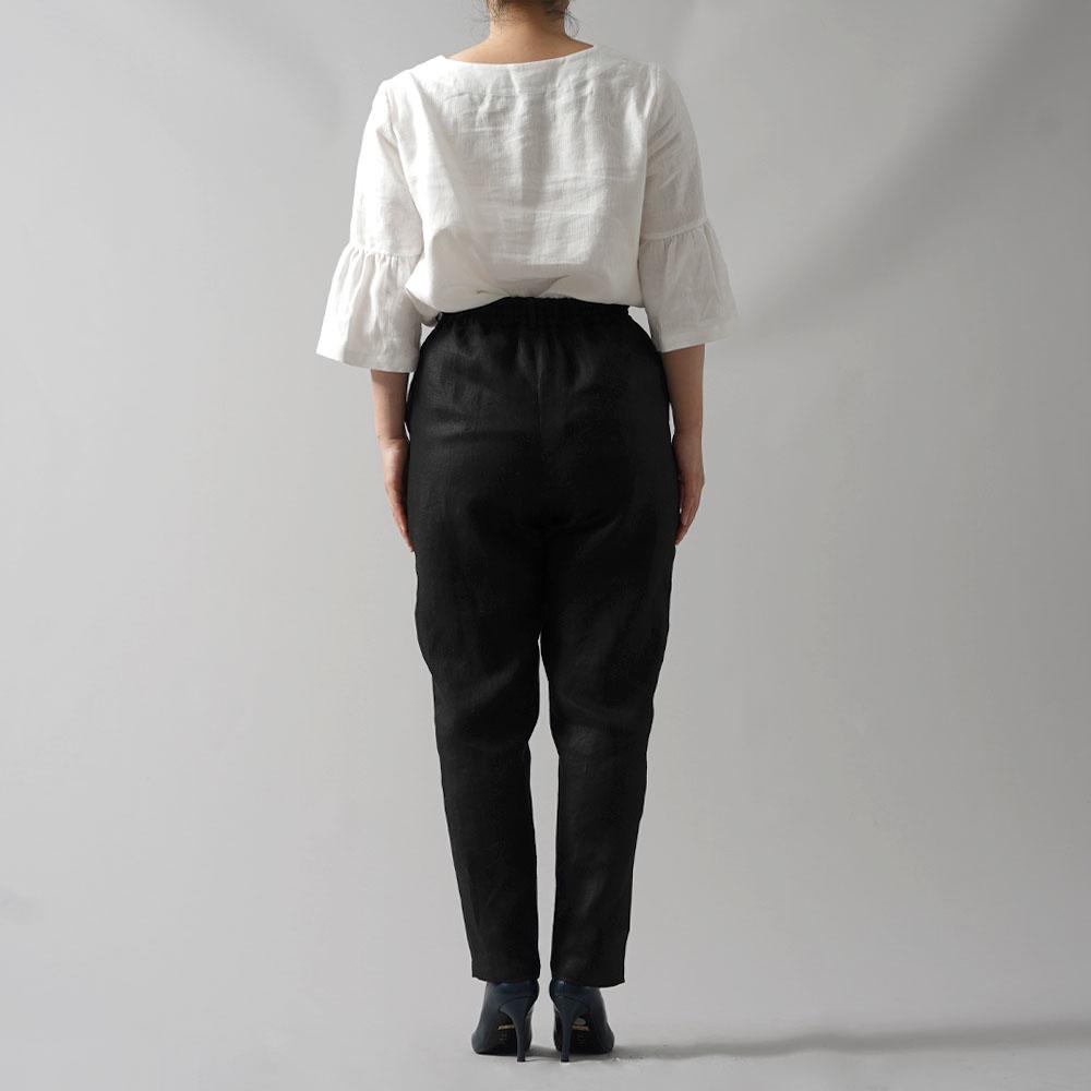 【wafu premium linen】リネン パンツ wafu史上最高のリネン 脚長効果 高密度リネン キレイめスタイル オフィスにも ロングパンツ/ランプブラック【M-L】b010f-lbk2