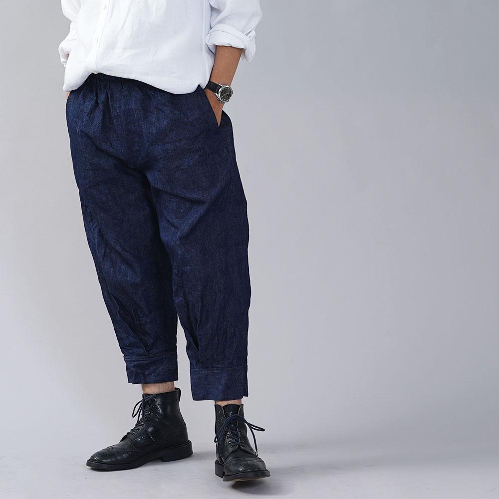 厚地 リネンデニムパンツ 男女兼用 育てていくデニム 色落ちします。 裾タックパンツ ボトムス ズボン デニムパンツ ウエストゴム 裾カフス/インディゴ【free】b013h-ind3