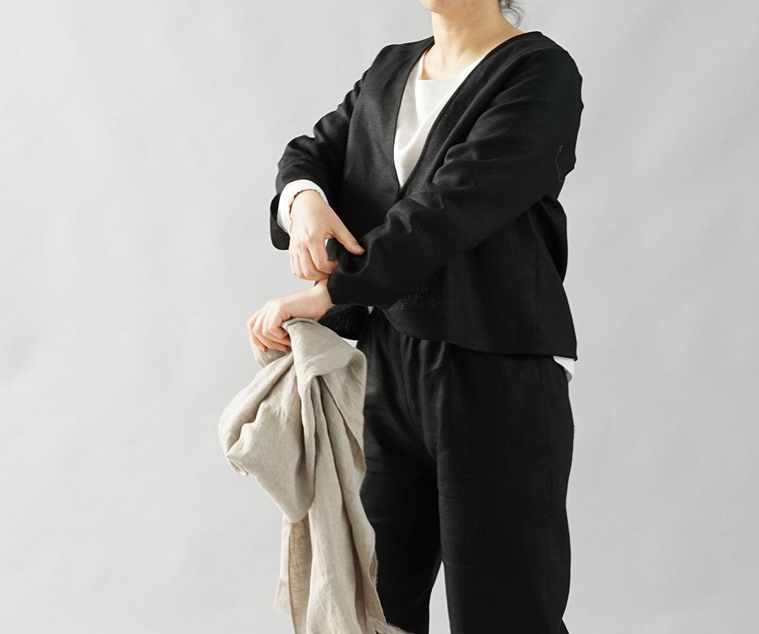 【wafu】中厚 リネン ボレロ カーディガン Vネック 長袖 羽織 アウター / ブラック【M-L】b1-6
