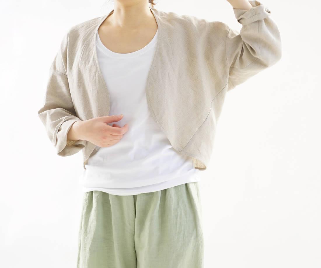 wafu 綿貫服装店 リネン100% マーガレット ボレロ トッパーカーディガン /亜麻ナチュラル 羽織り,アウター,カーディガン,ボレロ,長袖,冷房対策,紫外線対策,UV対策,無地,ナチュラル