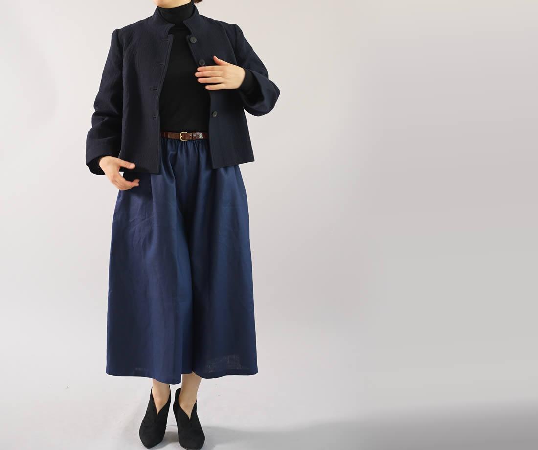 中厚 リネンパンツ ワイドスカーチョ キュロットパンツ ボトムス ポケット付き /オリエンタルブルー
