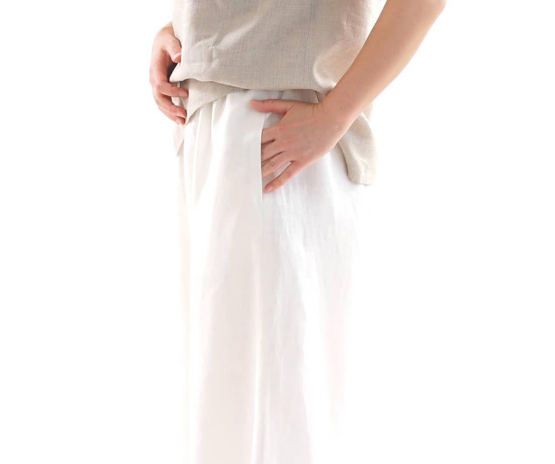 中厚 リネンパンツ ワイド リラックスパンツ ウエストゴム ロング丈 ポケット付き / ホワイト【free】b006b-wht2