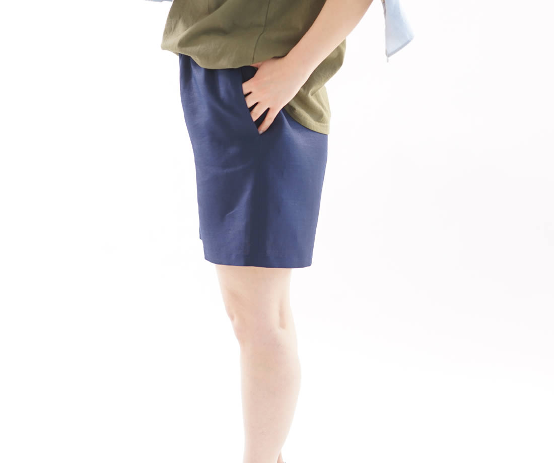 wafu 綿貫服装店 リネンパンツ ショートパンツ ハーフパンツ ポケット有り ウエストゴム / オリエンタルブルー リネンパンツ リネン 麻 ショートパンツ ミニ丈 パンツ ボトムス ズボン リラックス ウエストゴム リネンショートパンツ 無地 パンツ