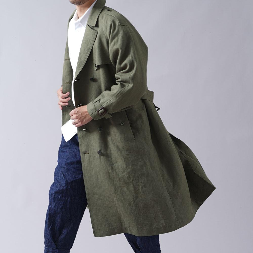 【wafu】世に出てない! 本格リネントレンチコート リネン帆布 リネン100%  男女兼用 高密度リネン リネンコート /カーキ【free】h002b-khk3