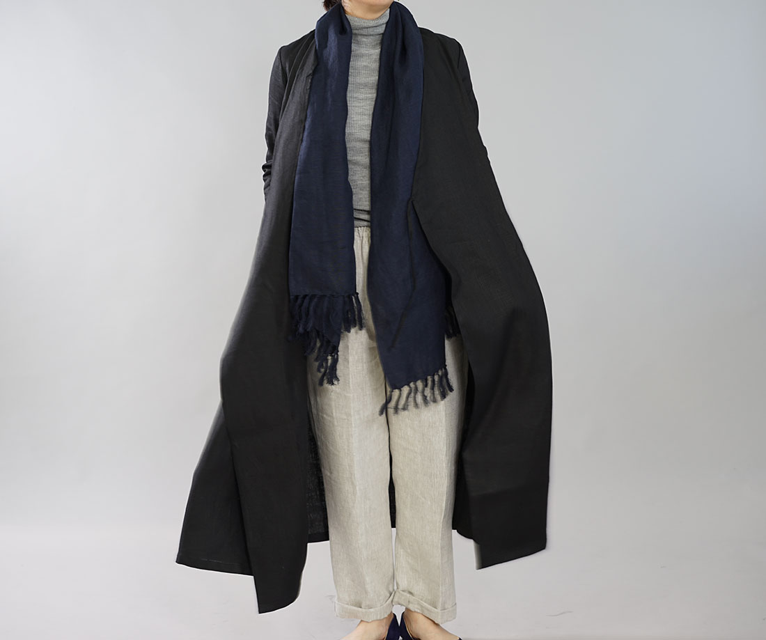 中厚 リネン ワンピース コート 2way カシュクール ボタン ロング丈 7分袖 ガウン / ブラック【M-L】h003b-bck2