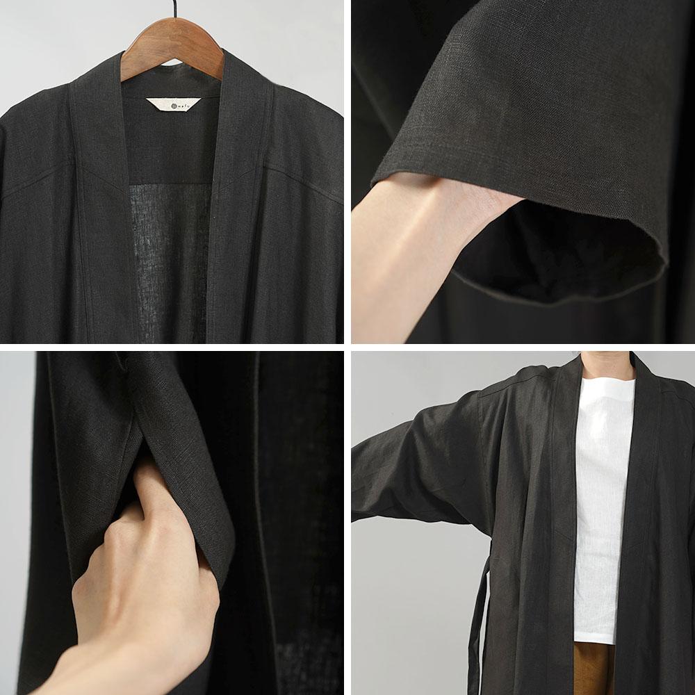 【慎ましい装い】中厚リネン ローブ +ヒジャブ セット モデストファッション modest リネンローブ リネンレース/ブラック【free】h020a-bck2