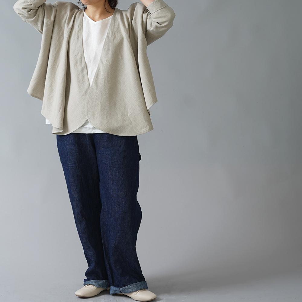 【wafu】やや薄手 リネンボレロ ヘムカーブ Linen bolero/亜麻ナチュラル【free】h021d-amn1