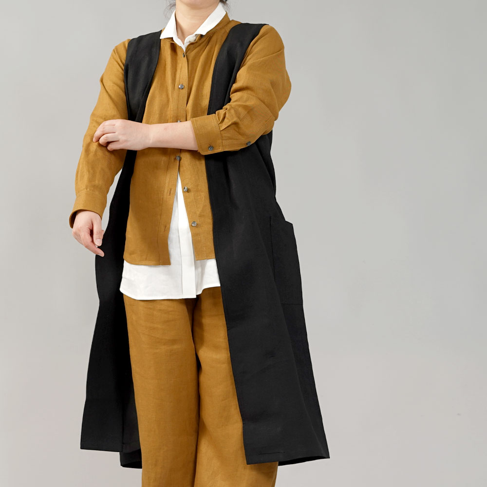 【wafu】中厚 リネン ロングジレ ベスト ノースリーブ アウター ポケット付き / ブラック【M-L】h025a-bck2