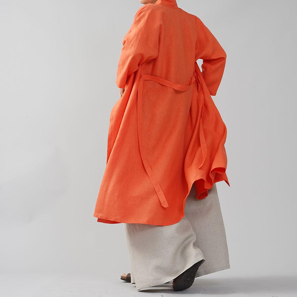 【wafu】中厚 リネン 禅 羽織 ドルマンスリーブ 着物 和装 襟 ローブ コート 九分袖 ロング リネンコート / バーミリオン【free】h037g-vmi2
