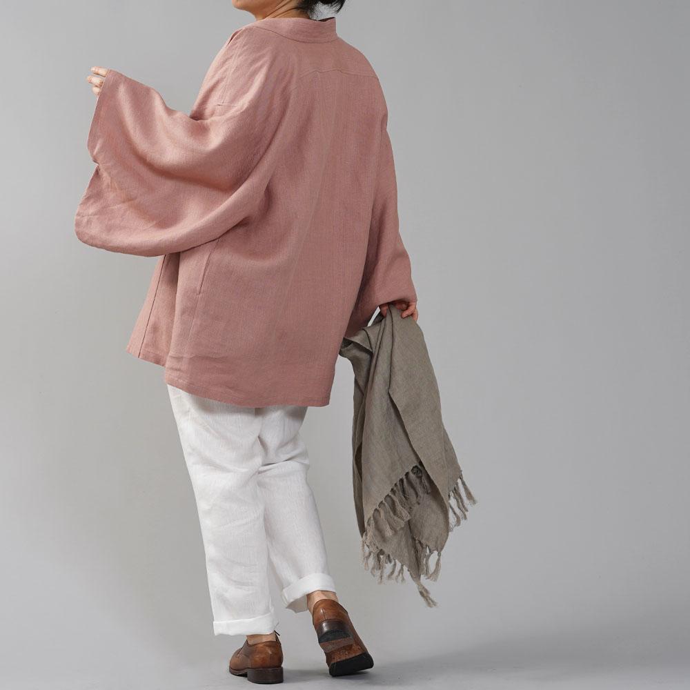 中厚リネン羽織 haori 男女兼用 和装 和服 リネン着物 kimono Haori Jacket ジャケット 先染め/浅緋色(あさあけいろ)【free】h037h-asa2
