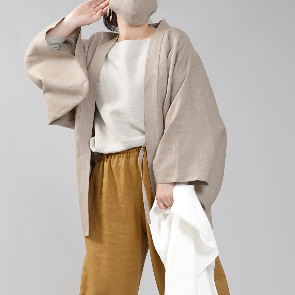 中厚リネン羽織 haori 男女兼用 和装 和服 リネン着物 kimono Haori Jacket ジャケット 先染め/胡桃色(くるみいろ)【free】h037h-krm2