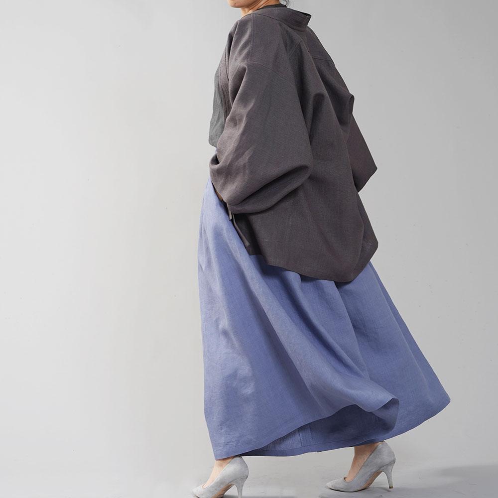 【wafu】中厚リネン羽織 haori 男女兼用 和装 和服 リネン着物 kimono Haori Jacket ジャケット 先染め/黒橡(くろつるばみ)【free】h037h-ktb2