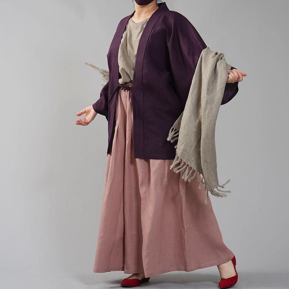 中厚リネン羽織 haori 男女兼用 和装 和服 リネン着物 kimono Haori Jacket ジャケット 先染め/紫根(しこん)【free】h037h-skn2