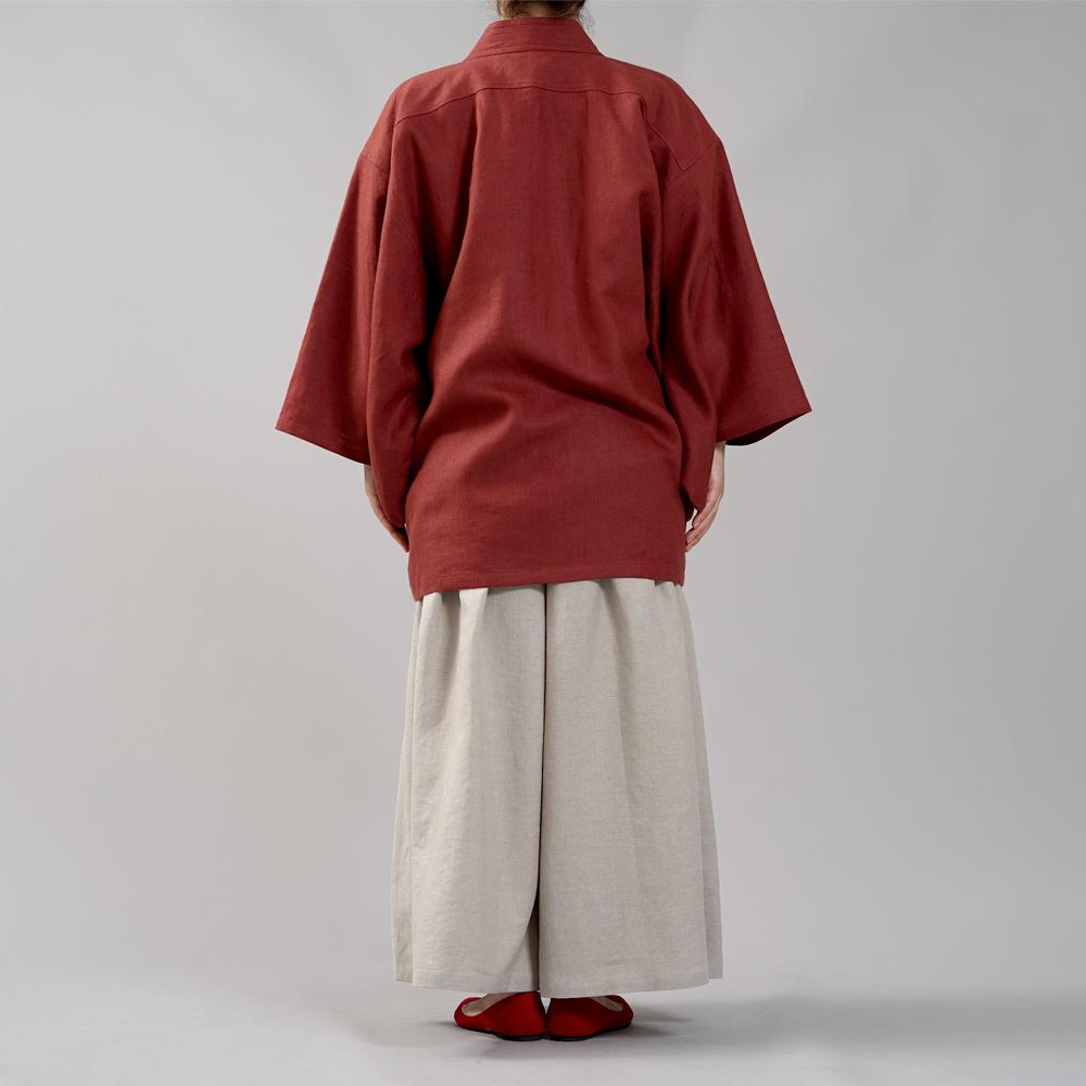 【wafu】中厚リネン羽織 haori 男女兼用 和装 和服 リネン着物 kimono Haori Jacket ジャケット 先染め/蘇芳(すおう)【free】h037h-suh2