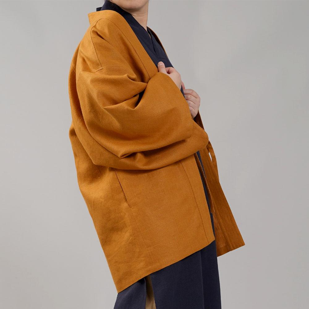 【wafu】中厚リネン羽織 haori 男女兼用 和装 和服 リネン着物 kimono Haori Jacket ジャケット 先染め/琥珀(こはく)【free】h037h-ybk2