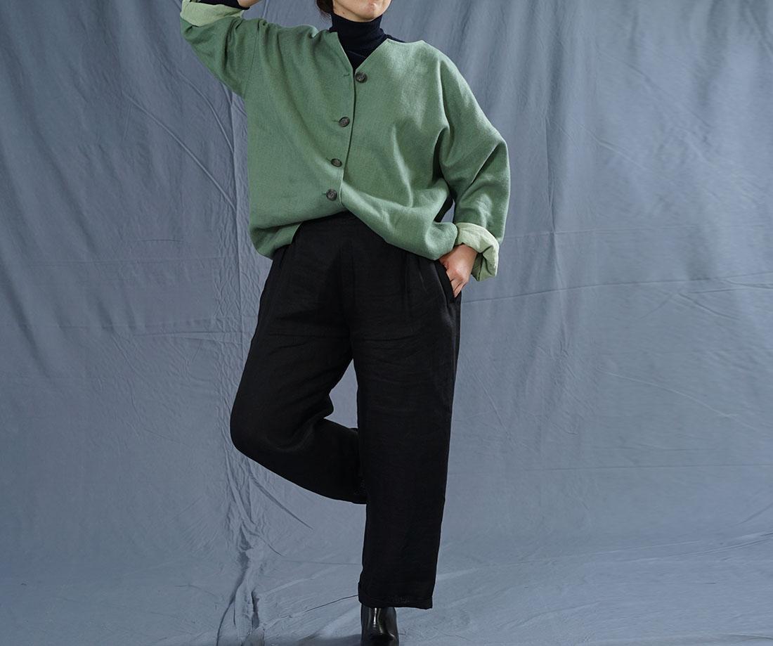 厚地 暖リネン 表起毛 サフィランリネン シャツ専用ジャケット 総裏地 雅亜麻 コート ドロップショルダー カーディガン 羽織 長袖 /蒼色(そうしょく)【free】h042c-sou3