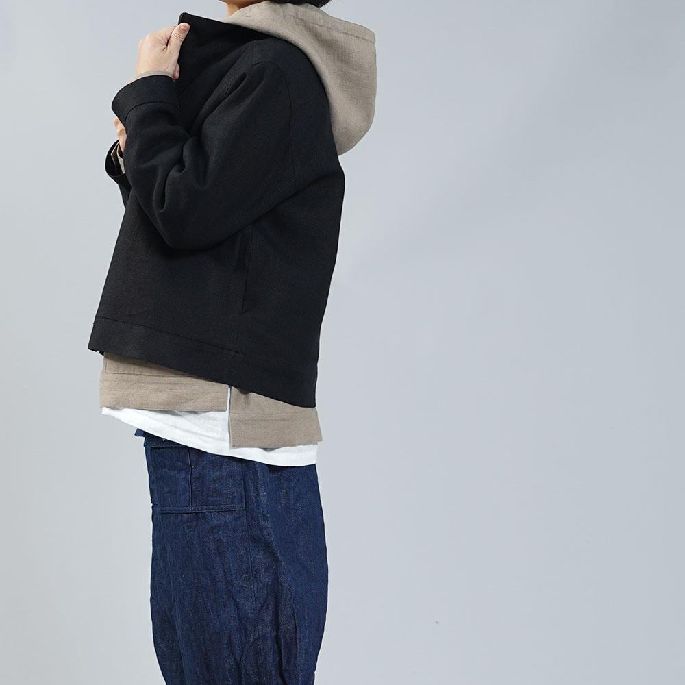 【wafu】中厚 二重 リネン スイングトップ リネン100% 裏地付き ジップアップ式 ジャケット/ブラック【free】h045b-bck2-w