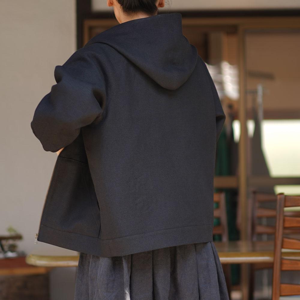 【wafu】中厚 リネン パーカー 裏地付き ジップアップ式 フード トップス 男女兼用 ラグランスリーブ 二重仕立て / ブラック【 M / L 】h046a-bck2