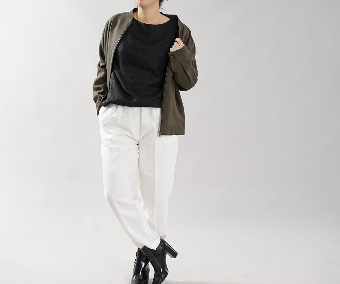 【wafu】中厚 リネン MA-1 ジャケット 2重仕立て フライトジャケット ブルゾン 羽織り ミリタリージャケット 男女兼用 内ポケットあり / カーキ【M-L】h048b-khk2