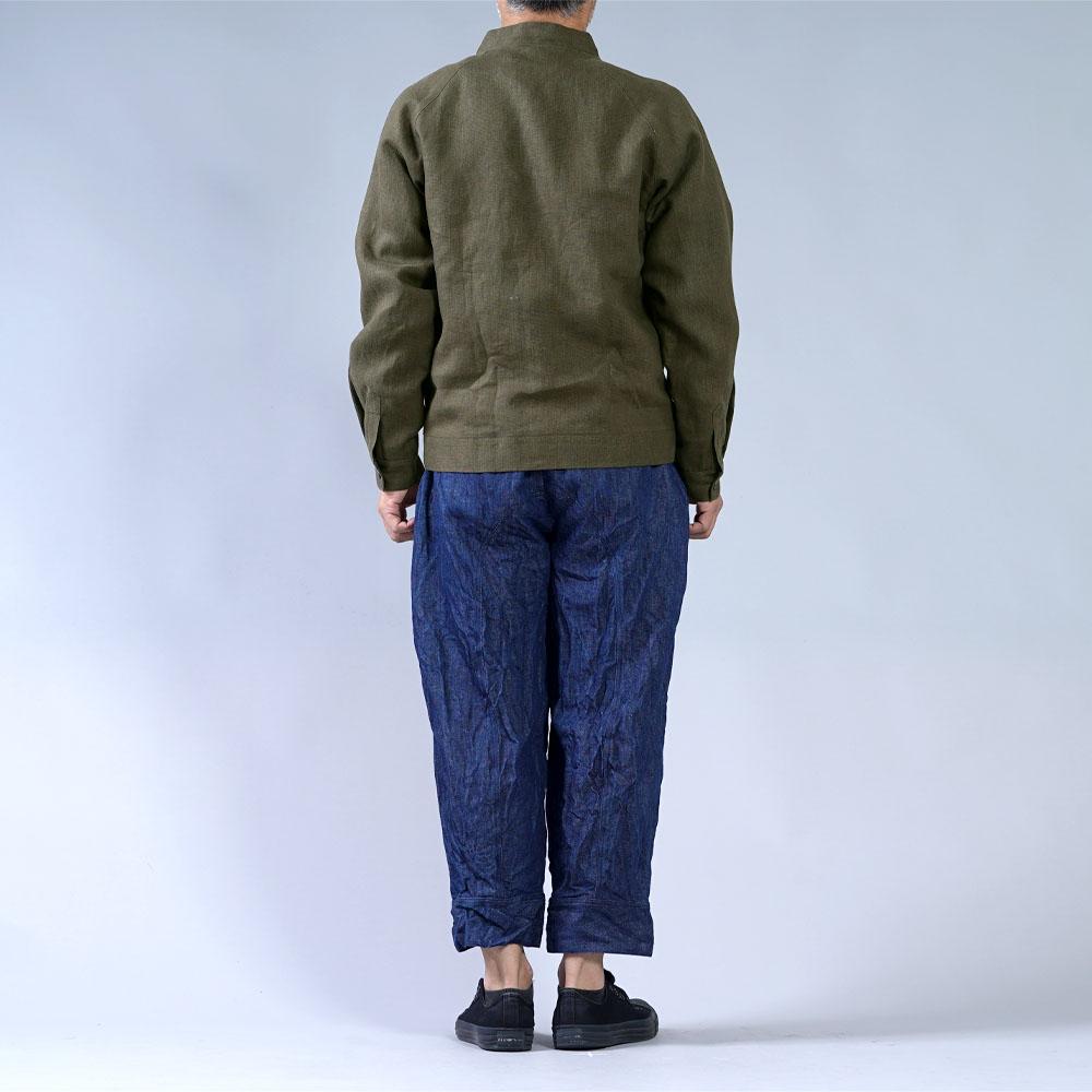 中厚 リネン MA-1 ジャケット 2重仕立て フライトジャケット ブルゾン 羽織り ミリタリージャケット 内ポケットあり/カーキ【M-L】h048b-khk2-m