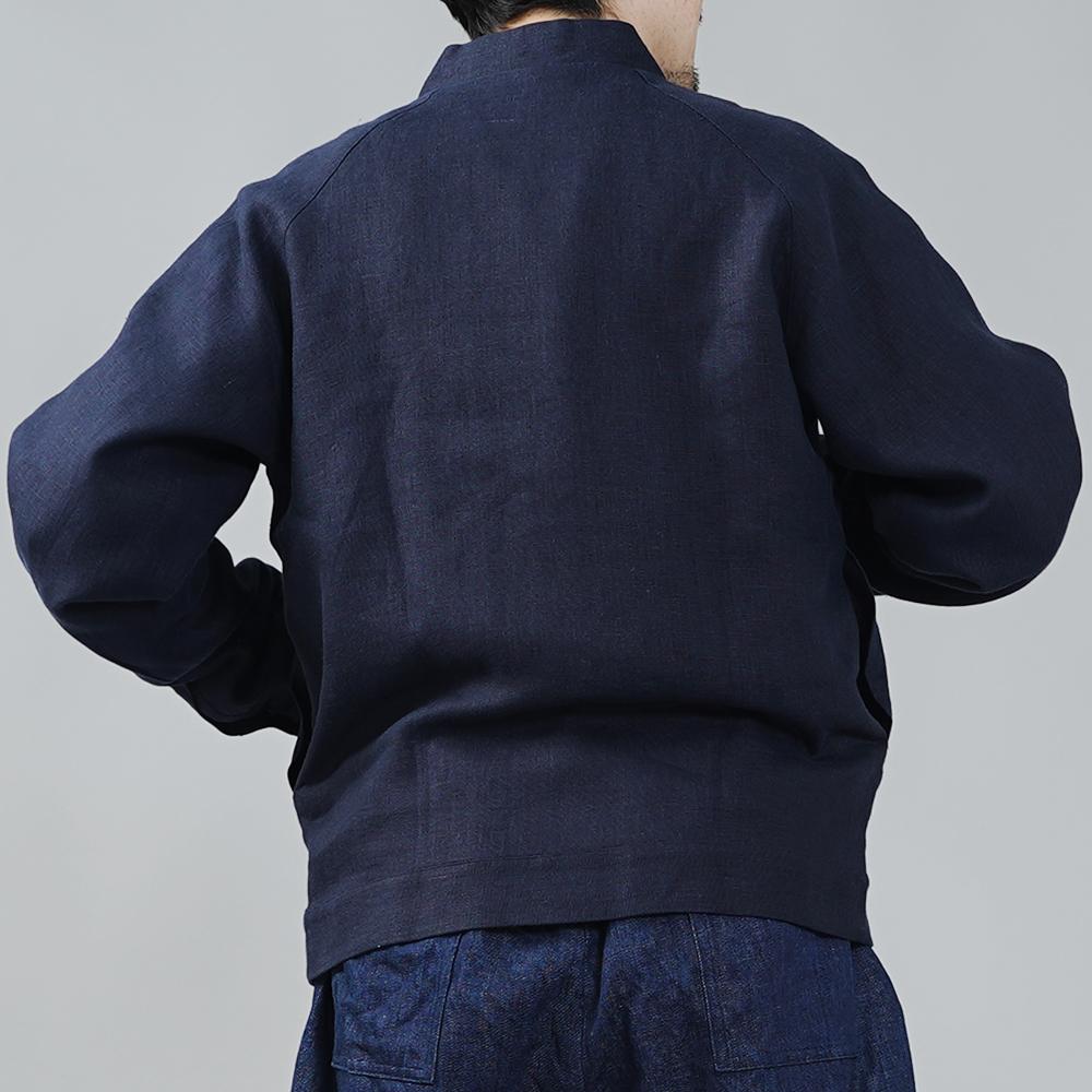 中厚 リネン MA-1 ジャケット 2重仕立て フライトジャケット ブルゾン 羽織り ミリタリージャケット 内ポケットあり/ネイビー【M-L】h048b-neb2-m