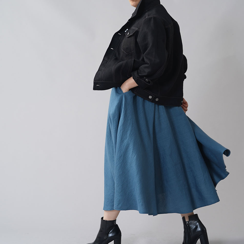 リネン100% 帆布 Gジャン 男女兼用 ユニセックス トラッカージャケット リネンジージャン メンズライク/ブラック【free】h051a-bck2