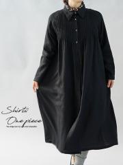 中厚 リネン ワンピース 2way やわらかい シャツ襟 ピンタック ドレス リトアニアリネン100% ラグランスリーブ 長袖 / ブラック