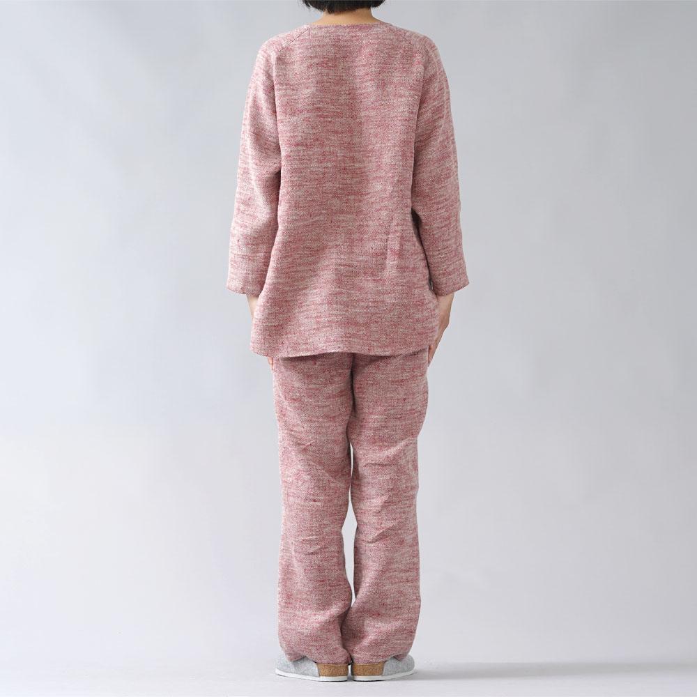 【wafu】厚地 起毛リネンパジャマ上下セット 柔らかく 暖かい /茜色(あかねいろ)【free】r011c-aki3
