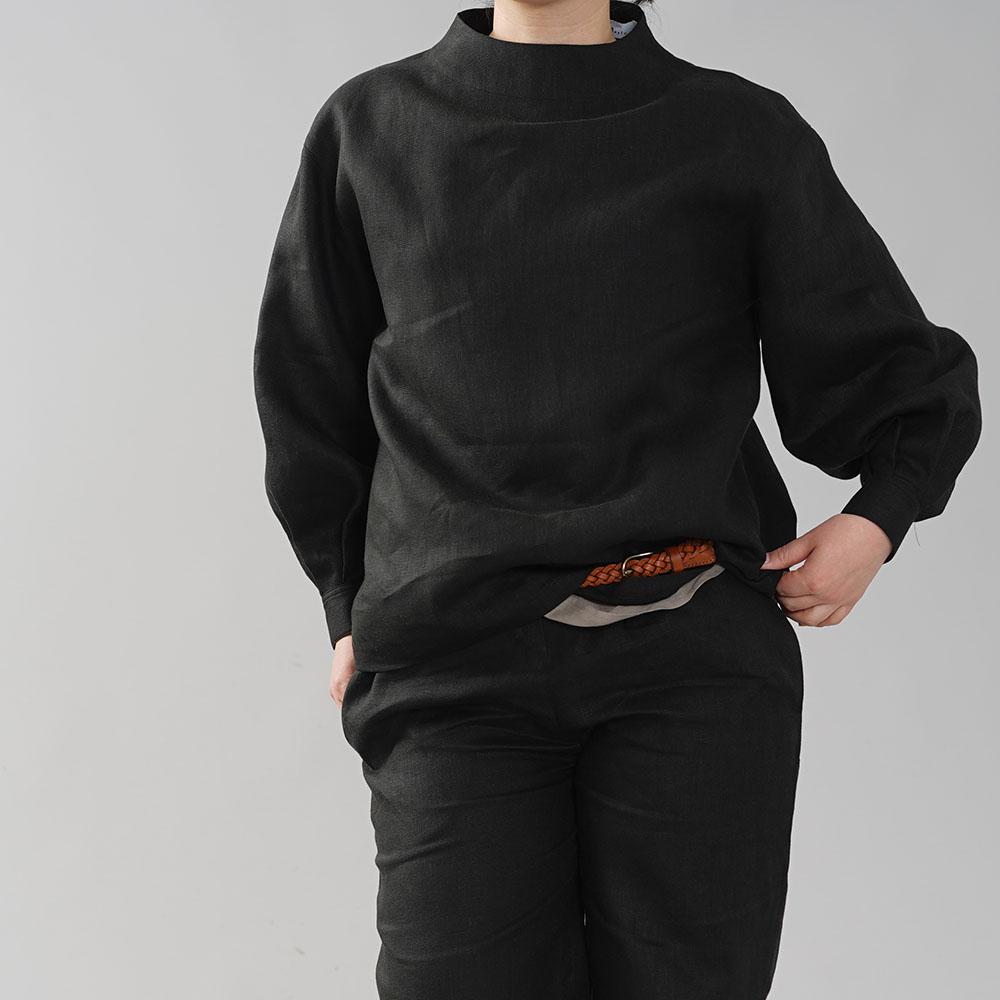 中厚 リネン ブラウス レイズド・ネックライン タック袖ドロップショルダー カフス袖 長袖 シャツ リネントップス/ブラック【M-L】t004d-bck2