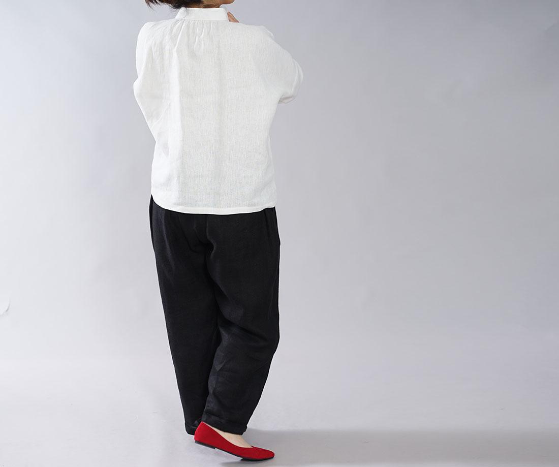 【wafu】中厚 リネン ブラウス スタンドカラー ドロップショルダー シンプル 長袖 シャツ チュニック / ホワイト【M-L】t005b-wht2