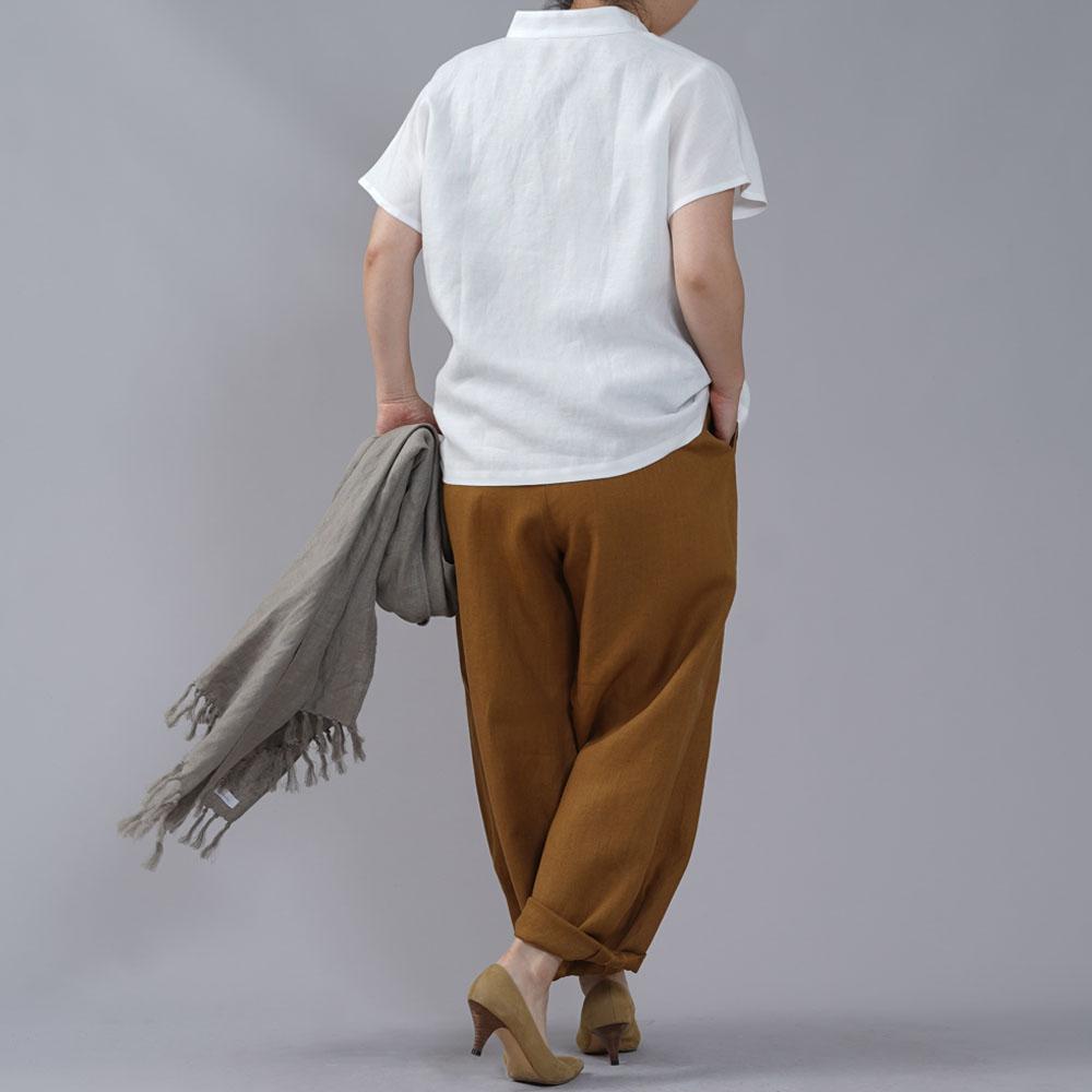 薄地 リネン フレンチスリーブ スタンドカラーシャツ /ホワイト【L】t008e-wht1