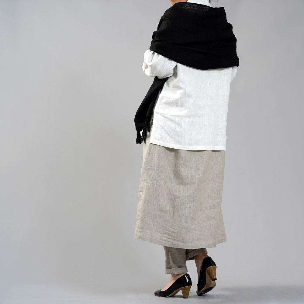 【wafu】※袖長め 中厚 リネン 着物襟 ブラウス トップス 禅 リネン100% チュニック スリット/ホワイト【free】t010d-wht2
