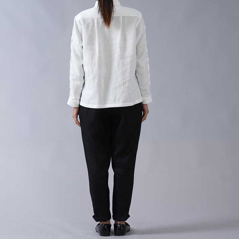 【wafu】やや薄地リネン 波ピンタック  長袖シャツ 40番手 /ホワイト【S/M/Lサイズ】t013b-wht1